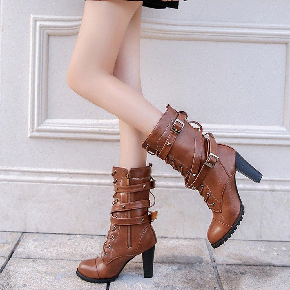 shoes Boots Women Ladies Classics Rivet Belt High Heels Mid-Calf Boots Shoes Martin Motorcycle Zip boots women 2018Oct31 29