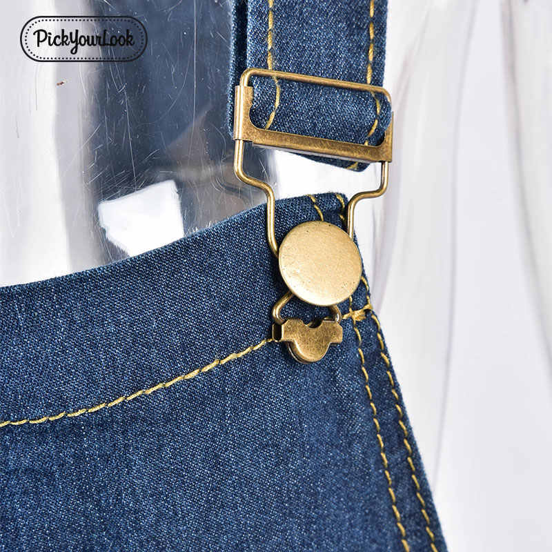 Pickyourlook плюс размер женский комбинезон, комбинезон, Летний джинсовый синий карман комбинезоны для девочек, Модный комбинезон с поясом, женские комбинезоны