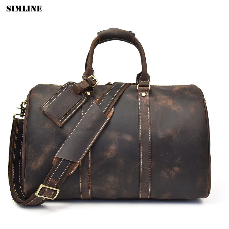 SIMLINE Genuine Leather Travel Bag Men Vintage Crazy Horse Cowhide Large Capacity Male Handbag Shoulder Hand Luggage Bags Male simline vintage genuine crazy horse leather cowhide men large capacity travel duffle bag shoulder luggage bags handbag for men