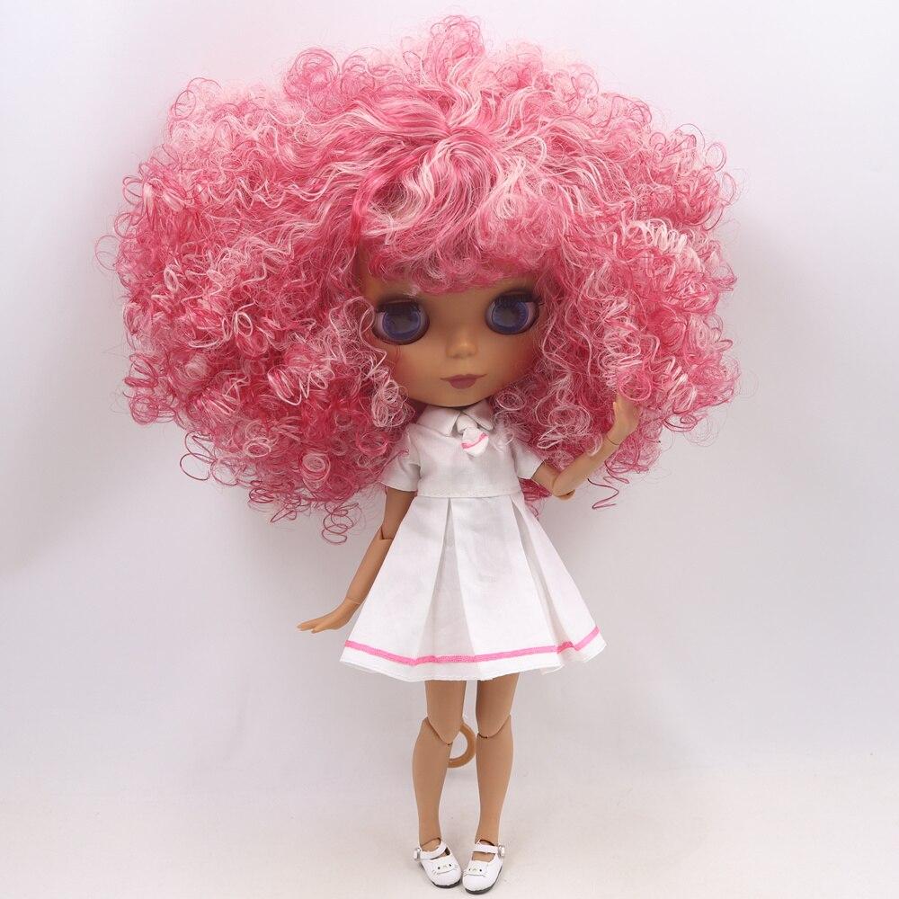氷ヌードブライス人形番号 QE155/2352 ピンクミックス赤アフロ前髪と共同体黒スキンマット面 1/6 BJD  グループ上の おもちゃ & ホビー からの 人形 の中 1