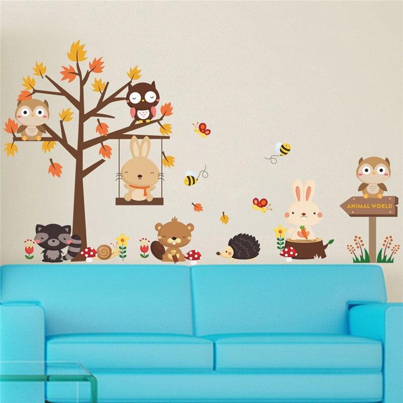 Лесные животные кролик медведь енот сова дерево наклейки на стену для детей Детская спальня, детская комната предметы интерьера наклейка плакат