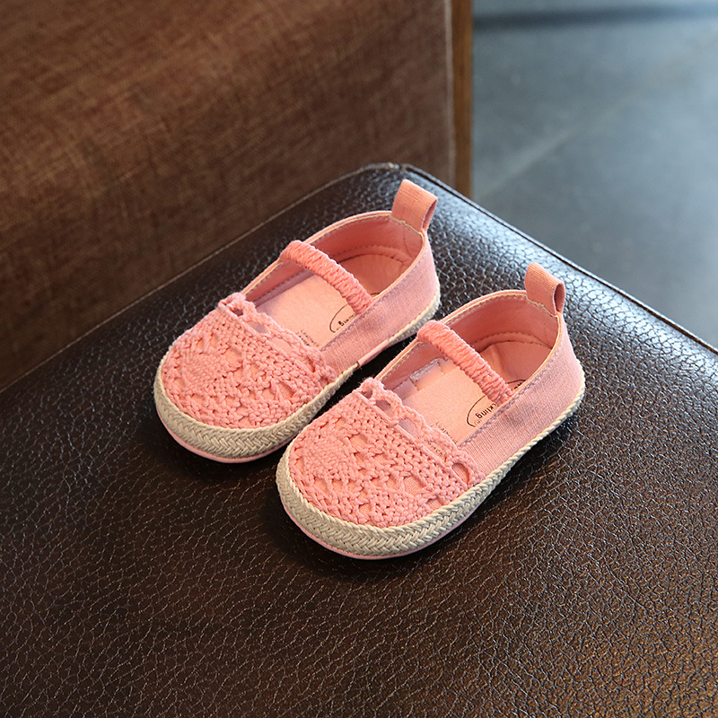 US $16.69 29% OFF|LUILIVERSON~Sweet Flowers Princess Baby Girls Toddle Shoes Knitted Cloth Newborn Infants Footwear Soft Sole Flats Shoes in First