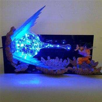 Dragon Ball Z Action Figure Son Goku Kamehameha DIY Led Light Explosion Scene DIY Toys Figurine