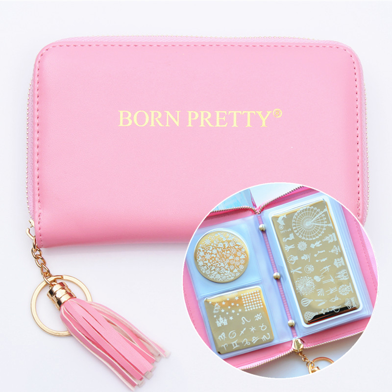 BORN PRETTY Nail Stamping Plate Holder Case 24 Slots Round Square Rechthoekige Nail Art Plate Organizer Bag