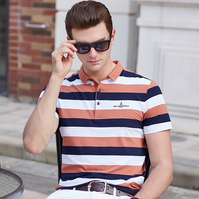 2019 Summer new cotton   polo   shirt men striped business casual 3d deer embroidery plus size XXXL homme camisa mens tops & tees