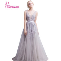 Vestido De Festa New Coming V Neck With Lace Appliques Long Tulle Girl Evening PartyEvening Dresses
