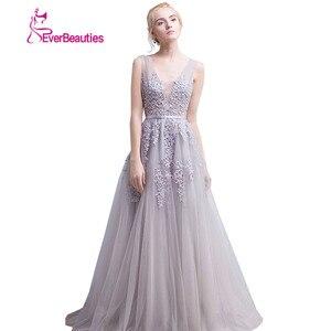 Image 4 - Vestidos de festa Evening Dress Robe De Soiree V Neck with Lace Appliques Long Tulle Party Evening Dresses 2020 Pink Navy Blue