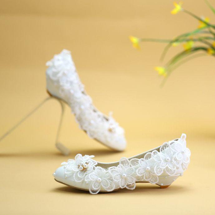 Mariée Demoiselle Fleur Cm Faible D'honneur Nq018 Tailles Femme Mariage Chaussures 2 Party Dinner Plus Bas Lady De Talon Blanc Dentelle qW46WOwFn