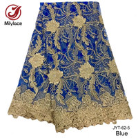 Latest African Stones Lace Fabric Top Quality Embroidered Tulle Lace Fabric Wholesale French Lace Fabric For