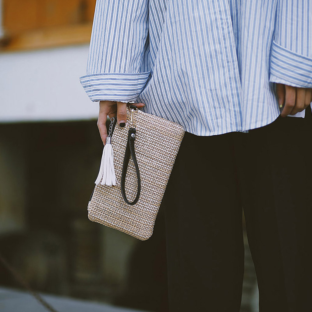 Clutch-Bag Handbag Woven Trend Zipper Men's Fashion Ladies Solid Tassel Bolsas-De-Mujer