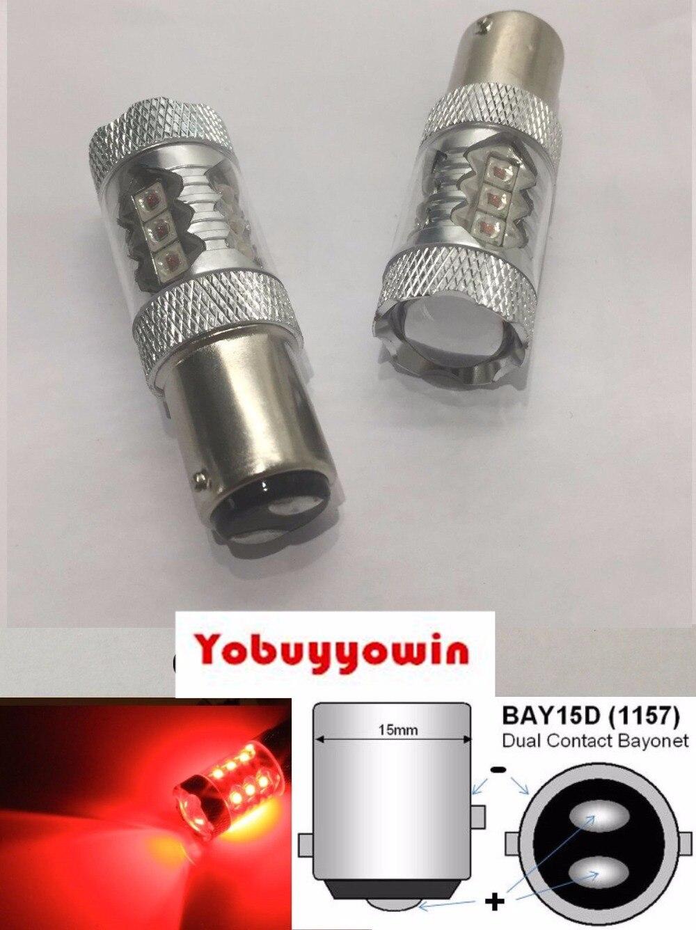 Cree LED BAY15D 1157 380 P21//5W Red Rear Tail Brake Stop Light Bulbs 12v 24v