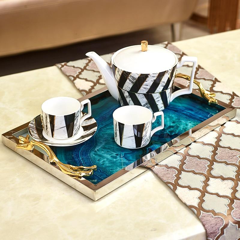 Lumière de luxe nordique américain bleu agate pierre motif grand plateau modèle chambre décoration salon table basse plateau de rangement