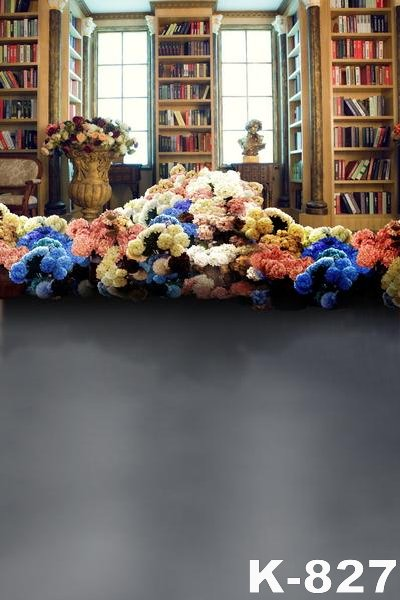 Bibliotheek Thema Achtergronden Vinyl Stof Fotografische 5 * 7ft Boekenplank Props Bloemen Achtergronden Voor Foto Studio Floor Achtergronden