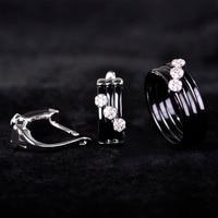 Chic New Arrival Ceramic Jewelry Sets Black Earring& Ring Ensemble Bijoux Princess Hook Copper Brinco CZ Zircon Rings OL Style