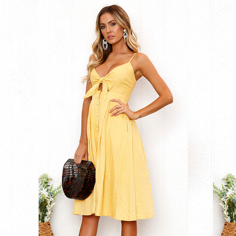BEFORW 2018 Sexy Deep V Neck Buttons Off Shoulder Dresses Polka Dots Print Beach Summer Dress Women Bow Backless Party dress