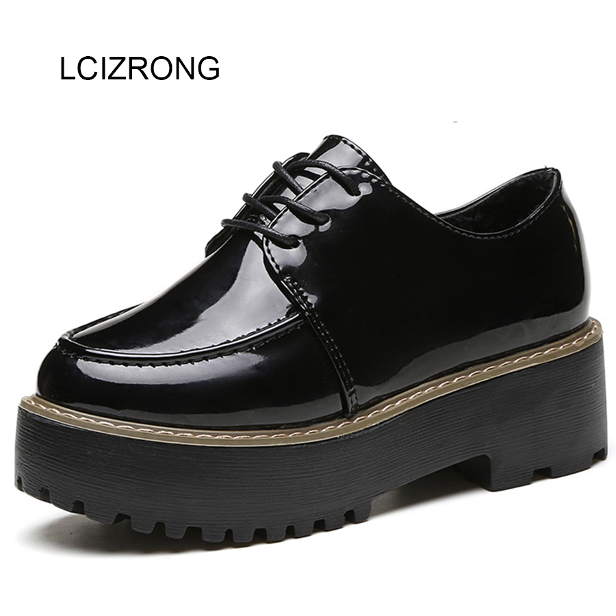 LCIZRONG Fashion 5CM Heel Women Flat Shoes Black Retro Creepers Lace-up Leather Platform Shoes Female Non-slip Breathable Shoes women creepers shoes 2015 summer breathable white gauze hollow platform shoes women fashion sandals x525 50
