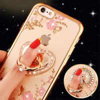 Luksusowe brokat Rhinestone etui na Kitty perfum Love Heart wyczyść miękki telefon etui na iPhone'a 5 5S 6 6 s 6 Plus 7 8 Plus X XS XR
