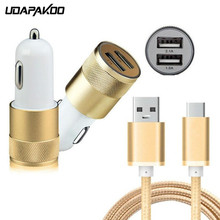 2 USB Port Car Charger + 1m Braide nylon Type C fast ChargE usb Cable for samsung Galaxy s8 xiaomi mi a1 a2 LG G6 Oneplus 6T 5 3