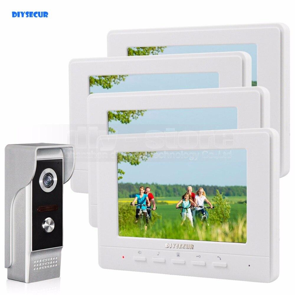 DIYSECUR 7inch Video Intercom Video Door Phone 700TV Line IR Night Vision Outdoor Camera For Home / Office Security System 1V4