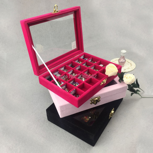 ForLeDream 24 Grids Black Rose Red Velvet Jewelry Box Rings Earrings