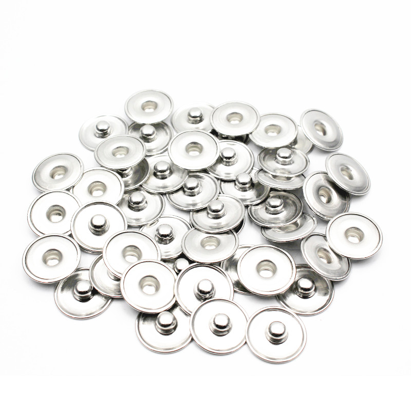 50pcs/lot DIY Accessories For Make 18mm/20mm Snap Buttons Round Silver Tone Cabochon Setting