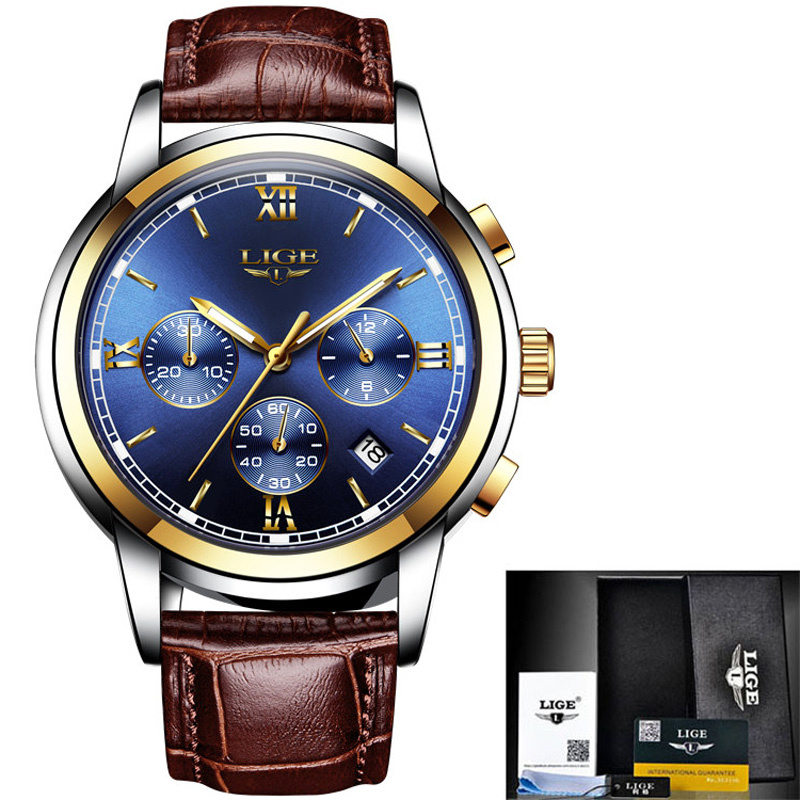 <font><b>LIGE</b></font> Watch Men Fashion luxury Waterproof Top Brand Watch Military Sports Luminous Leather Quartz Mens Watches Relogio Masculino image