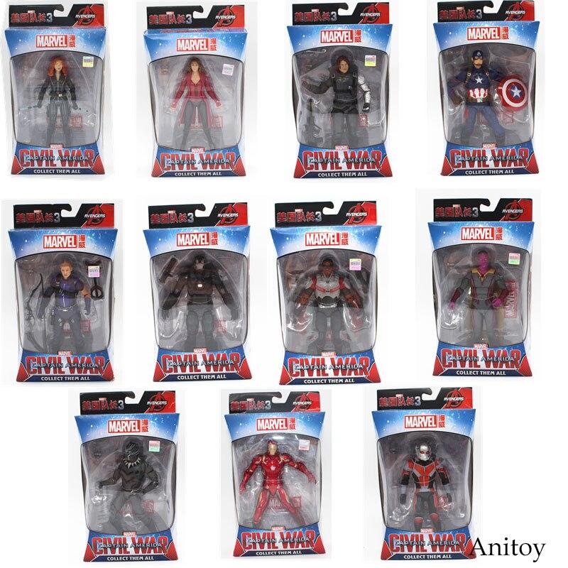 Marvel Avengers Iron Man Schwarz Panther Hawkeye Captain America Black Widow PVC Action Figure Sammeln Modell Spielzeug 17 cm KT3351