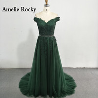 Dark Green Off The Shoulder Evening Dresses Sexy Backless Formal Dress Chic Prom Dress Sweep Train