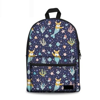 Noisydesigns Kpop School Backpack Corgi Mermaid Women Canvas Rucksack Teenager Girls Kids Brand Designer Backpacks Pack Sac Dos