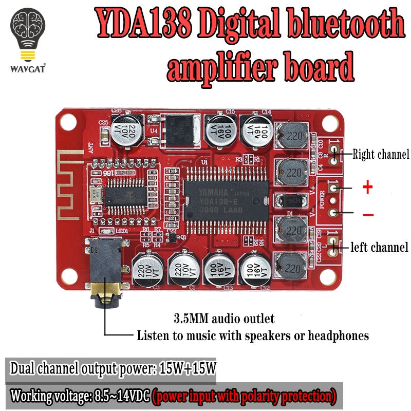YDA138 2*15W Bluetooth Amplifier Board Module 2.0 Stereo Class D Clear Bass Digital Audio Power Amplifiers Car Auto Amplificador