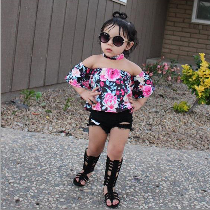 2017 INS girl outfits set / floral print headband + off the shoulder tops + black jean shorts