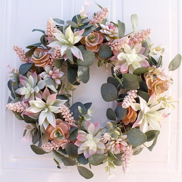 Artificial Succulent Flower Wreath Garden Hanging Wreath for Home Wall Front Door Wedding Decor