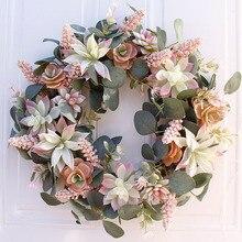 Künstliche Sukkulente Blume Kranz Garten Hängen Kranz für Home Wand Front Tür Hochzeit Decor
