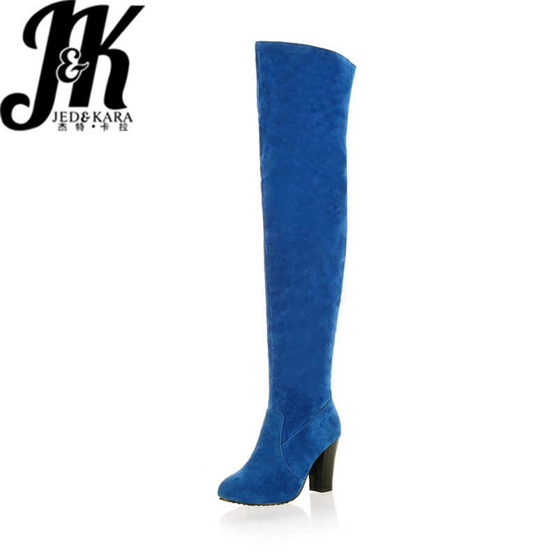 2016 Newest Round Toe Sexy Over the Knee High Boots Lady's Med Heels Autumn Winter Boots Fashion Women Shoes Big size 34-43