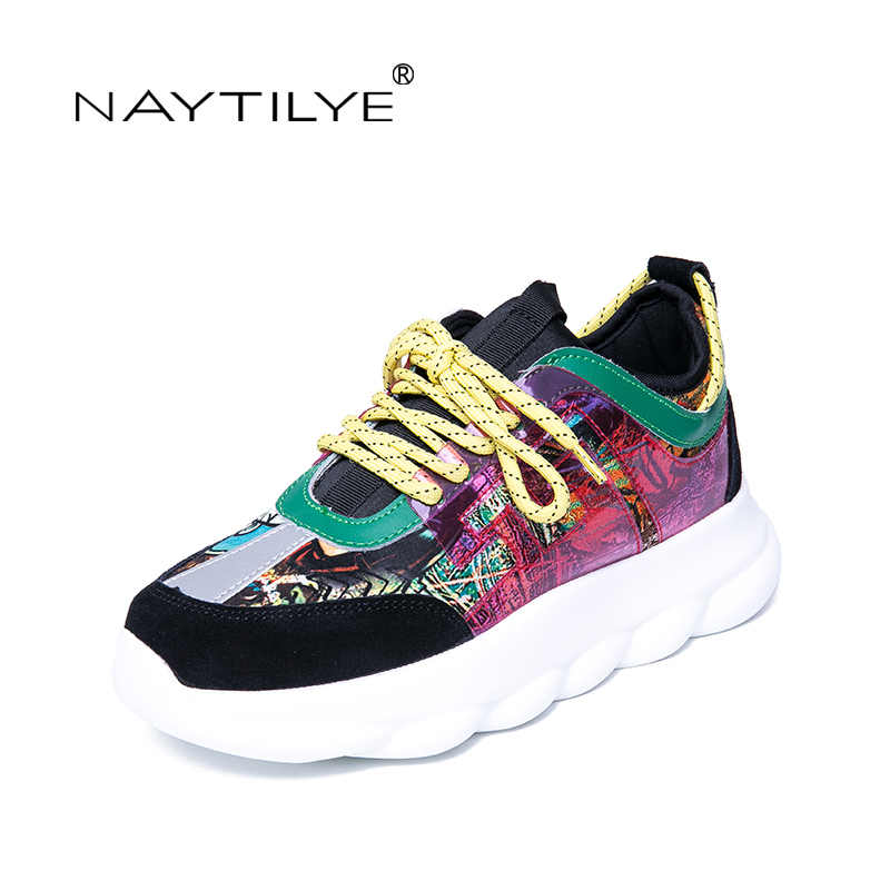 NAYTILYE 2019 New Women's Shoes Casual Lace-Up Round Toe Platform Fashion Spring/Autumn woman shoes 35-40 Free shipping