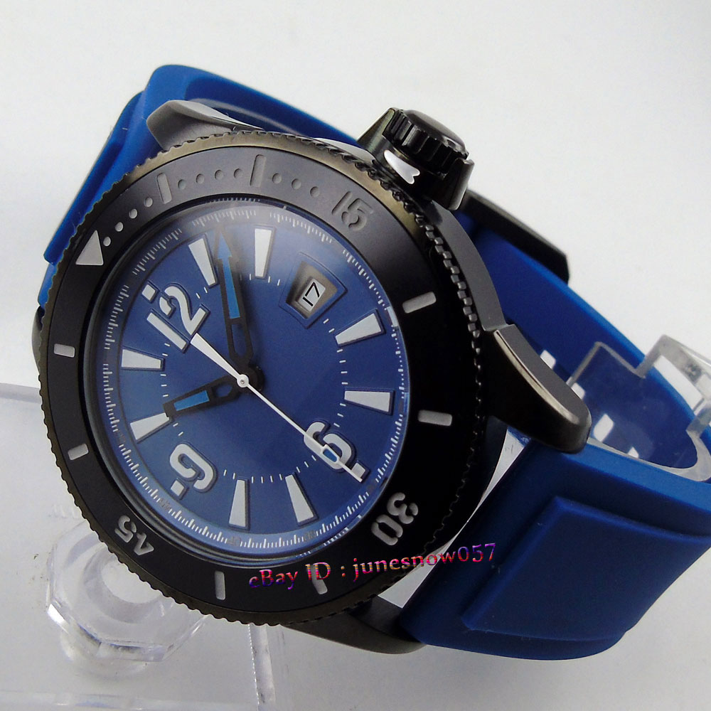 лучшая цена BLIGER 43mm blue sterial dial date luminous ceramic bezel PVD case rubber strap MIYOTA Automatic men's watch