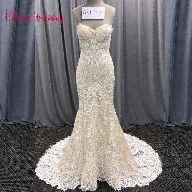 2020 אופנה חדשה בת ים אפליקציות חתונת שמלה ארוך רכבת ואגלי כלה שמלת robe דה mariee תחרה שרוולים שמלת כלה