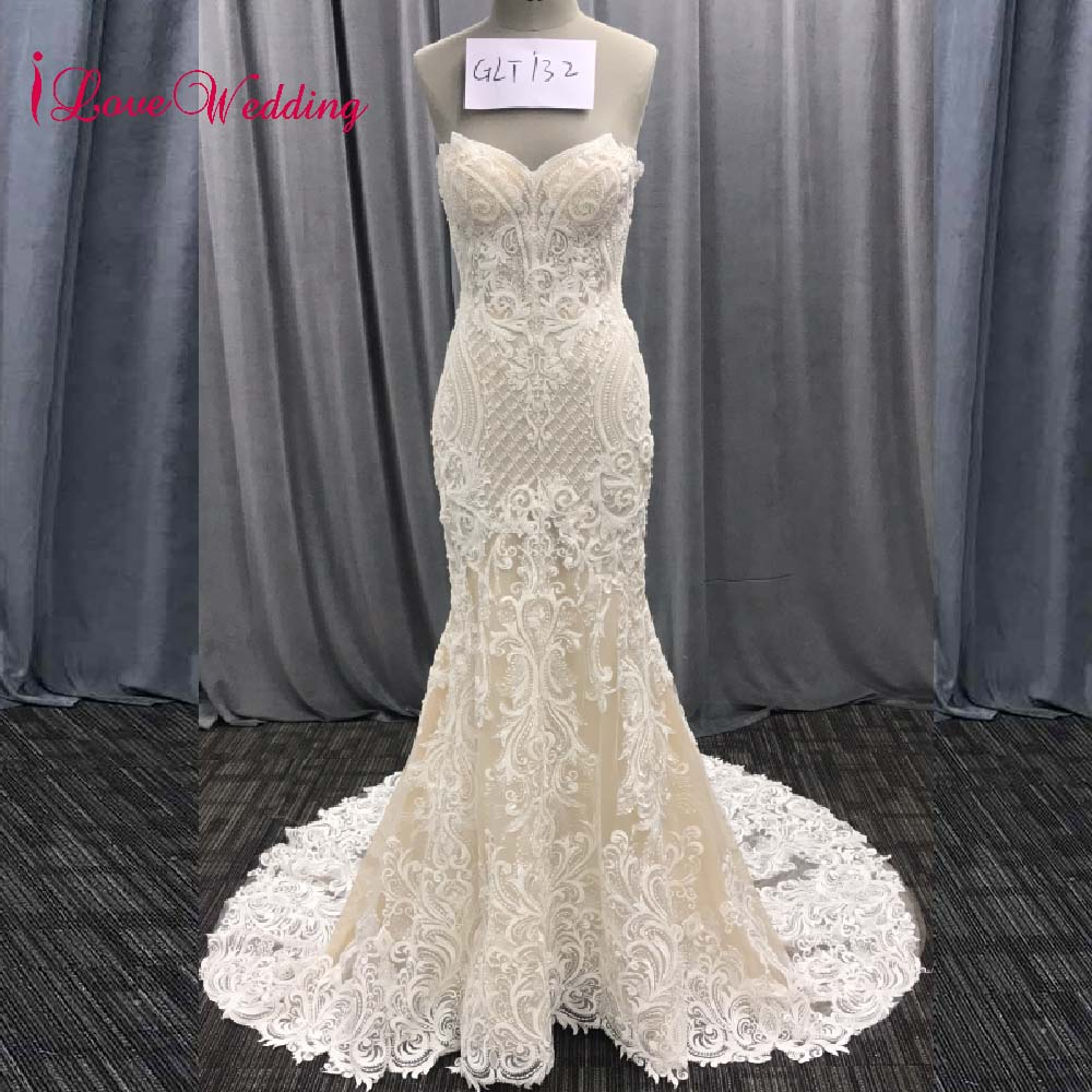 iLoveWedding Ivory Champagne Mermaid Appliques Wedding Dress Long Train Beading Bridal Gown robe de mariee Wedding Gown 2018