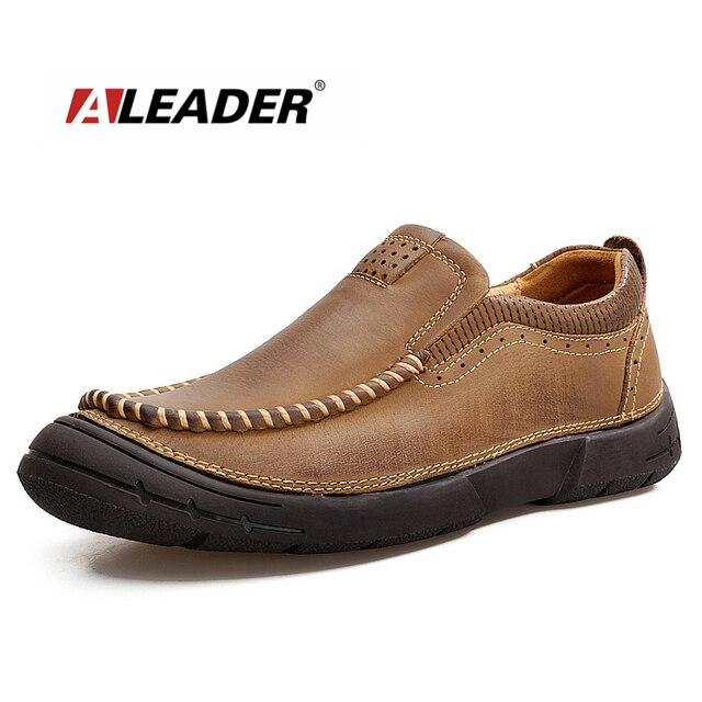 7c2e6bc32 Couro de Vaca De Qualidade Aleader Sapatos Masculinos Outono Clássicos  Oxfords Homens Sapatos Deslizar Sobre Mocassins