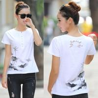 Summer Female T-shirt Plus Size Women Cute Print T shirt Basic Chinese ink painting style Lotus Short Sleeve Shirts Casual Tops