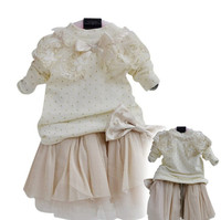Anlencool 2014Free shipping Korean children girls dress dot skirt baby clothing baby dress clothing set baby girls clothing