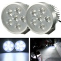 2pcs Silver Motorcycle Bike 18W 6 LED Headlight Fog Spot Driving Light Lamp 12-80V For Honda/Suzuki