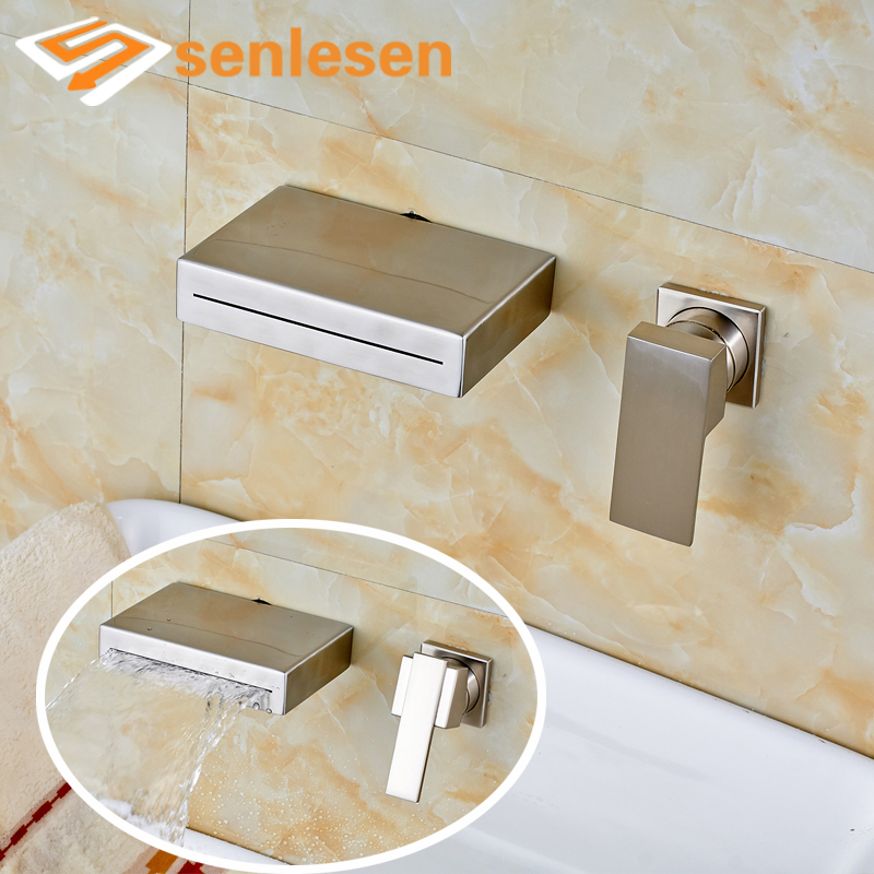 Waterfall Widespread Spout Basin Sink Mixer Faucet Nickel Brushed Wall Mounted wall mounted dual handle waterfall basin faucet brushed nickel hot and cold wash basin mixer taps