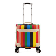 New Arrival Fashion Women Rainbow Stripe 16 Inch Rolling Luggage Suitcase Travel Box Women Trolley Suitcase Wheels LGX37(China)