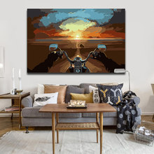 Coloring painting by numbers Abstract Landscape Distance sky Riding a motorcycle pictures Paintings paint with color(China)