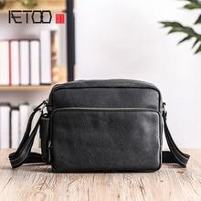 AETOO Mens shoulder bag, leather casual horizontal large capacity cowhide male oblique cross bag