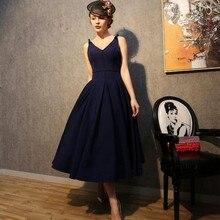 Vintage 1950's Style Navy Negro Corto Vestidos de Baile Para Las Mujeres arco de Longitud de Té Abierto Detrás del Partido de Tarde Vestido Negro Vestido