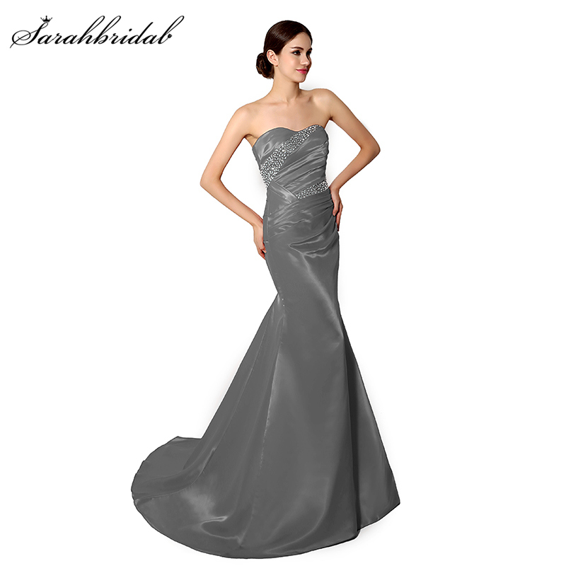Vintage In Stock Fast Shipping Long Evening Dresses Boat Neck Satin Beading Sequined Sleeveless Cheap Inventory