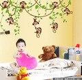 Симпатичный мини обезьяны стены винила наклейки надписи дети животные растения росписи обоев девушки парни дети главная спальня питомник декора