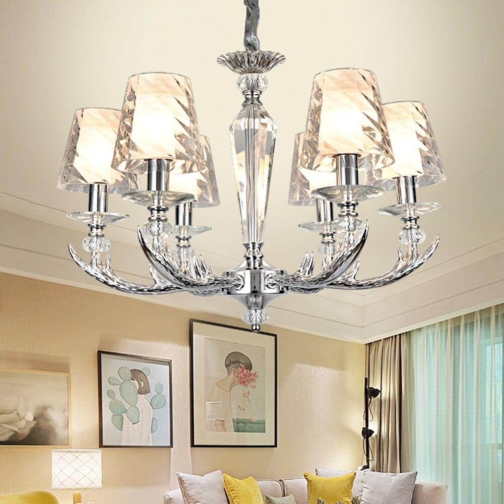 LED Modern Chandeliers Acrylic 110 220v White K9 Crystal Lustre Design Chandelier E27 Chandelier for The Bedroom Luminaria